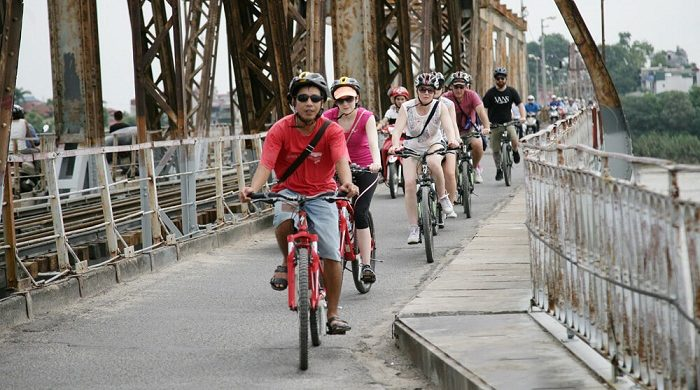 Biking Long Bien bridge