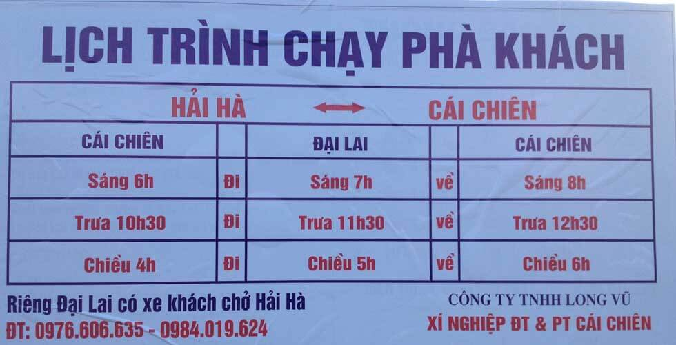 Time table of local ferry to Cai Chien