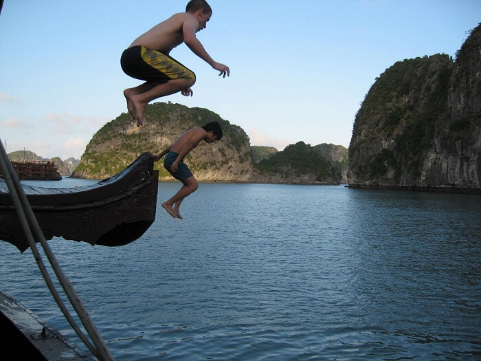 Jumping off the boat Halong